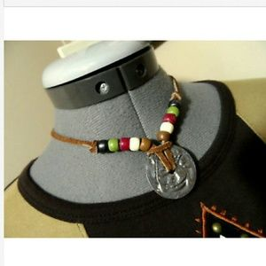 Vintage WESTERN Leather Beaded Choker Necklace